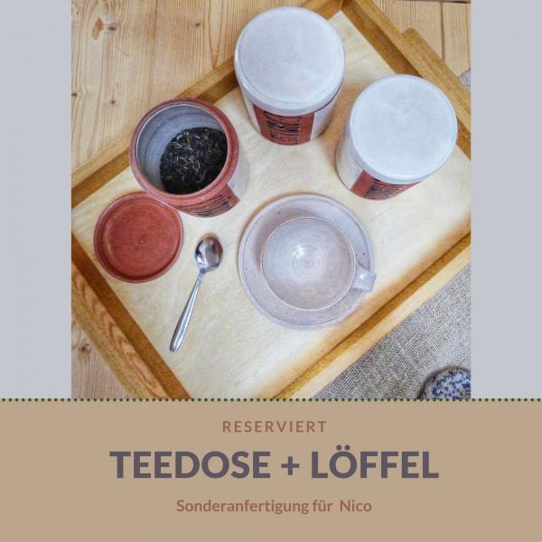 Sonderanfertigung: Teedose und Löffel für Nico
