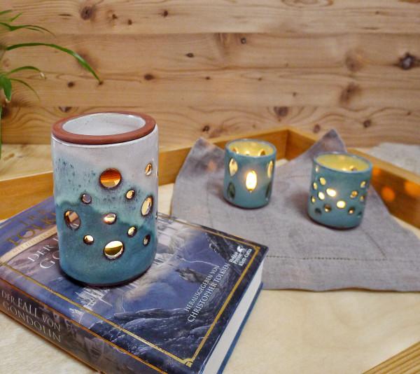 Duftlampe türkis / cremeweiß mit Farbverlauf
