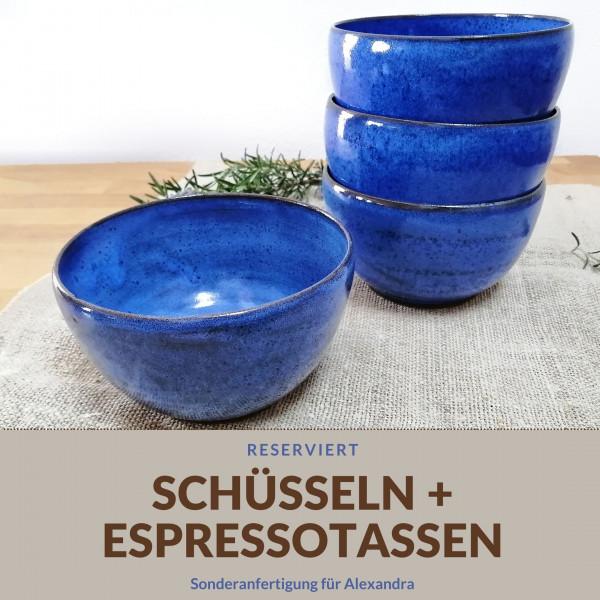 Sonderanfertigung: Schüsseln und Espressotassen für Alexandra